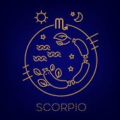 Scorpio Vector Signs Of The Zodiac In Circles Of Golden Color On A Blue Background. Astrological For poster
