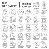 Fire Safety Thin Line Icon Set, Emergency Symbols Collection, Vector Sketches, Logo Illustrations, U poster