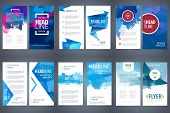 Vector Set Of Design Elements Template For Business Brochure, Leaflet, Poster Or Flyer On Blue Water poster