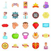 Ad Icons Set. Cartoon Set Of 25 Ad Icons For Web Isolated On White Background poster