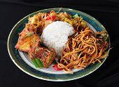 Malaysian traditional dishes called nasi ambeng