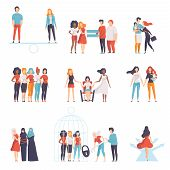 Gender Equality In Society Set, Young Women Of Different Nationalities Supporting Each Other, Girls  poster