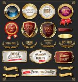Collection Of Vintage Retro Premium Quality Golden Badges And Labels 3.eps poster