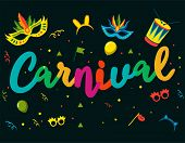 Popular Event In Brazil. Festive Mood. Carnaval Title With Colorful Party Elements. Travel Destinati poster