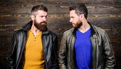 Exude Masculinity. Men Brutal Bearded Hipster. Confident Competitors Strict Glance. Masculinity Conc poster