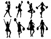 foto of cheerleader  - A set of cheerleaders in silhouette mode - JPG