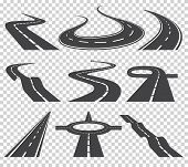 Curved Roads Vector Set. Asphalt Road Or Way And Curve Road Highway. Winding Curved Road Or Highway  poster