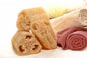 Natural Loofah Scrub Sponge And Soft Cotton Towels
