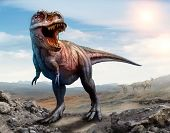 Tyrannosaurus Rex From The Cretaceous Era Scene 3d Illustration poster