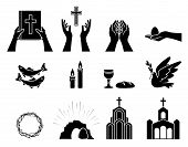 Religious Christian Symbols And Signs. Set Of Icons. Crown Of Thorns, Church, Fish, Candles, Bread A poster