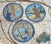 pic of beatitudes  - Mosaic in front of the church on the Mount of Beatitudes - JPG