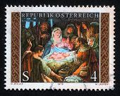 AUSTRIA - CIRCA 1979: A greeting Christmas stamp printed in the Austria shows Christmas Creche, circa 1979