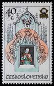 Checoslováquia - por volta de 1978: Selo imprimido em shows de Checoslováquia Orloj ou Prag