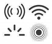Signal Icons Vector Set Iradio Signals Waves. Radar, Wifi, Antenna poster