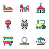Entertainment For Children Icons Set. Flat Set Of 9 Entertainment For Children Icons For Web Isolate poster