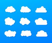 Set Of Blue Sky, Clouds. Cloud Icon, Cloud Shape. Set Of Different Clouds. Collection Of Cloud Icon. poster
