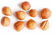 Top View Of Shelled Hazelnuts Isolated On White poster