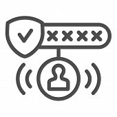 Password Protected Line Icon. Password Authorization Vector Illustration Isolated On White. Strong P poster
