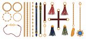 Set Of Chains, Straps And Belts, Braid And Pendant. Fashion Jewelry Elements Print For Fabric Design poster