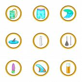 Surf Icons Set. Cartoon Set Of 9 Surf Icons For Web Isolated On White Background poster