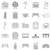 Interesting Places Icons Set. Outline Set Of 25 Interesting Places Icons For Web Isolated On White B poster