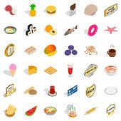 Nice Food Icons Set. Isometric Style Of 36 Nice Food Icons For Web Isolated On White Background poster