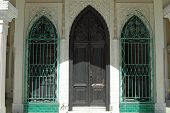 Entrance With Green Grilles