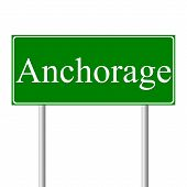 Anchorage green road sign