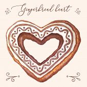 Gingerbread Heart Vector. Gingerbread Heart Vector Illustration For Christmas Card, Menu, Recipes. W poster
