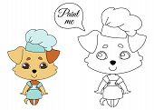 Dog With Hanging Ears In A Cook Cap And Apron, Chef Puppy Mascot. Coloring Book Pages For Kids. Colo poster