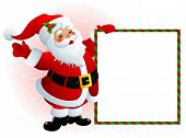 image of santa-claus  - illustration of smiling Santa Claus with empty message board - JPG