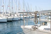 pic of nautical equipment  - Many boats moored in the harbor - JPG