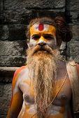 Sadhu Man, Blessing In Pashupatinath Temple
