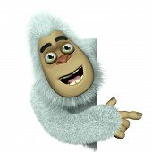 stock photo of bigfoot  - 3 d cartoon cute white bigfoot toy - JPG