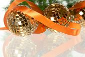 Golden Balls With Orange Ribbon And Firtree