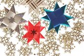 Origami Stars Postcard On The Snowflake Garland