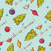 Merry Christmas seamless pattern with tree