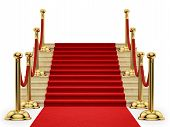 gold stanchions and a red carpet