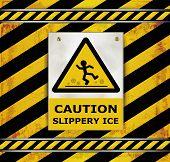 Sign Caution Blackboard Caution Slippery Ice