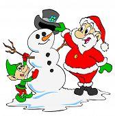 Santa & Elf Build Snowman