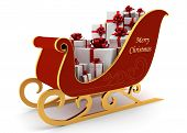 Christmas Sleigh With White Presents