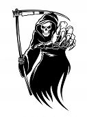 stock photo of tombstone  - Black death monster with scythe for halloween concept - JPG