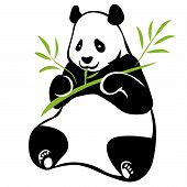 stock photo of panda bear  - Vector illustration of sitting panda with bamboo branch in paws - JPG