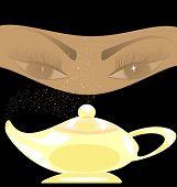 golden oriental lamp
