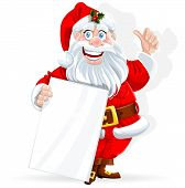 Cute Santa Claus holds banner for text isolated on white background