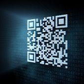 Pixeled ilustración de código QR en la pantalla digital