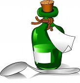 foto of paracetamol  - Green bottle of medicine and a small spoon  - JPG