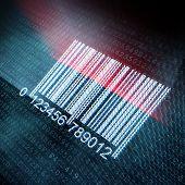 Ilustración de pixeled de código de barras en la pantalla digital