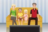 Family Watching Movies At Home