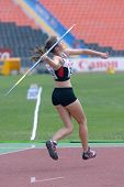 DONETSK, UKRAINE - JULY 13: Alexandra Morrow of Canada competes in the javelin throw in Heptathlon girls during 8th IAAF World Youth Championships in Donetsk, Ukraine on July 13, 2013